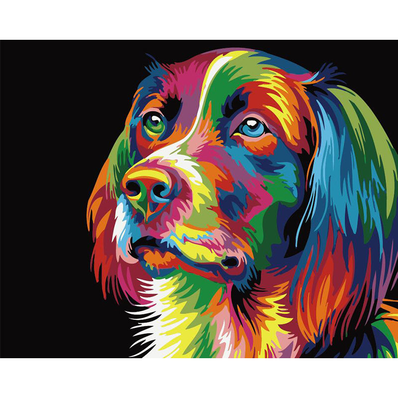 "DIY Painting By Numbers -Colorful Dog (16""x20"" / 40x50cm)"