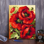 "DIY Painting By Numbers - Red Flower (16""x20"" / 40x50cm)"