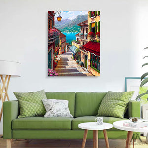 "DIY Painting By Numbers - Coffee Town Landscape (16""x20"" / 40x50cm)"