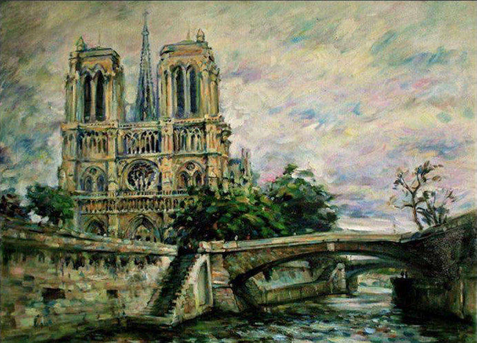"DIY Painting By Numbers - Cathédrale Notre Dame de Paris(16""x20"" / 40x50cm)"