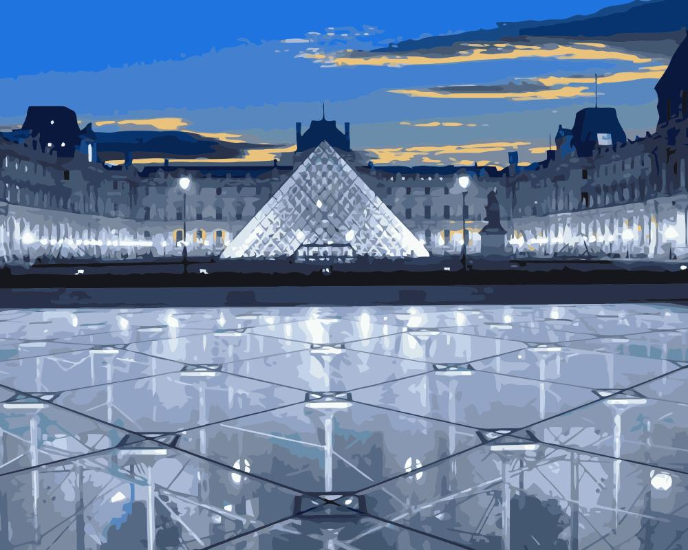 "DIY Painting By Numbers - Musée du Louvre Paris (16""x20"" / 40x50cm)"