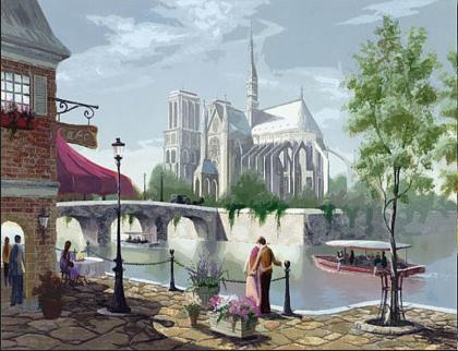 "DIY Painting By Numbers - Romance & Notre Dame Cathedral de Paris (16""x20"" / 40x50cm)"