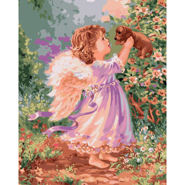 "DIY Painting By Numbers -Angel With Puppy (16""x20"" / 40x50cm)"