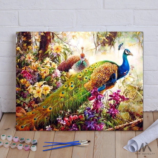 "DIY Painting By Numbers -  Peacock (16""x20"" / 40x50cm)"
