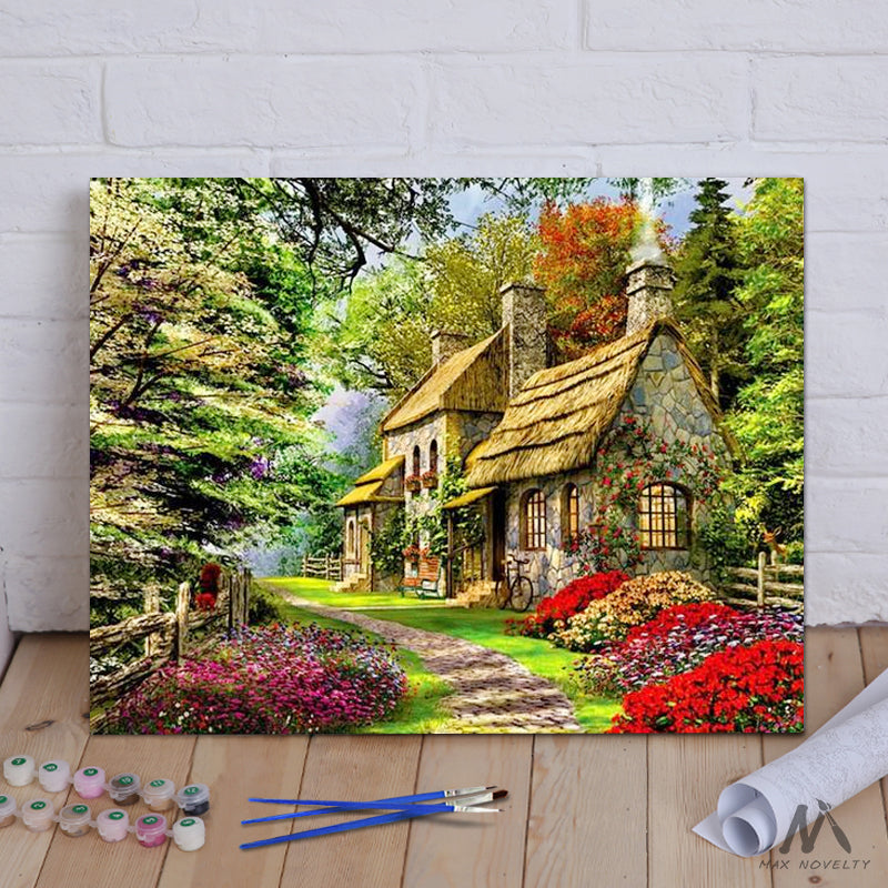 "DIY Painting By Numbers - Cabin in the woods (16""x20"" / 40x50cm)"