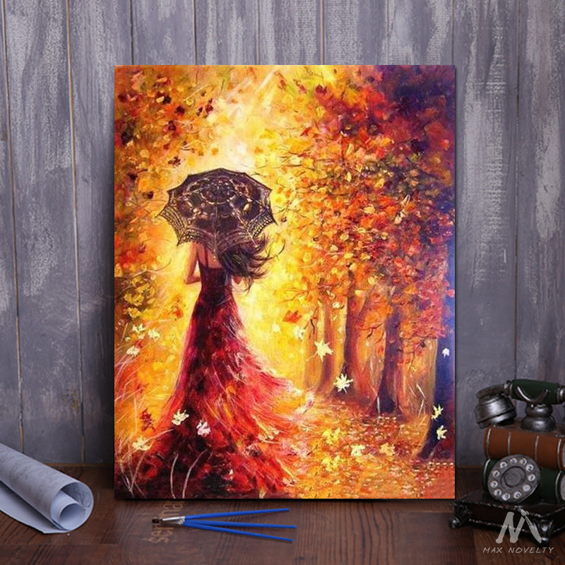 "DIY Painting By Numbers - Beautiful Woman Autumn Landscape (16""x20"" / 40x50cm)"