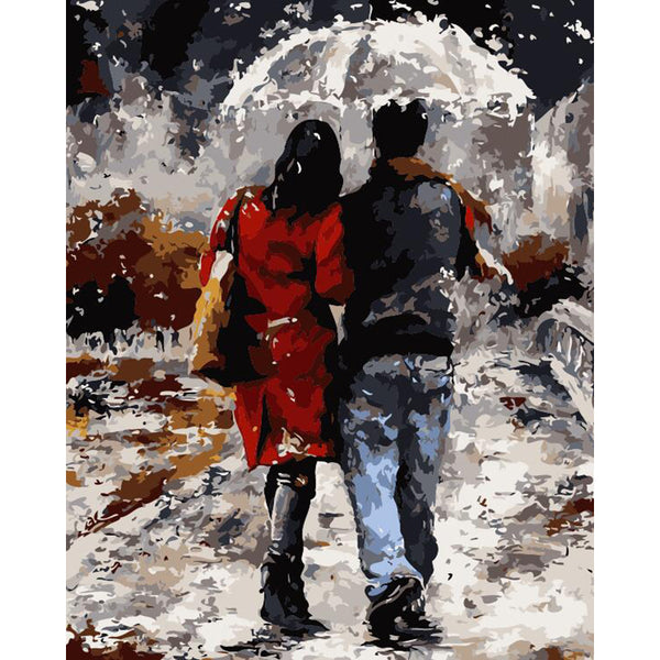"DIY Painting By Numbers - Lovers Under Umbrella (16""x20"" / 40x50cm)"