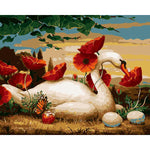 "DIY Painting By Numbers - Swan With Flowers(16""x20"" / 40x50cm)"