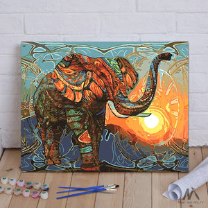 "DIY Painting By Numbers - Vintage Elephant (16""x20"" / 40x50cm)"