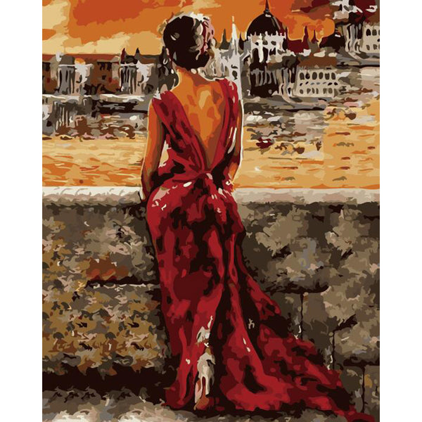 "DIY Painting By Numbers -  Red Dress (16""x20"" / 40x50cm)"