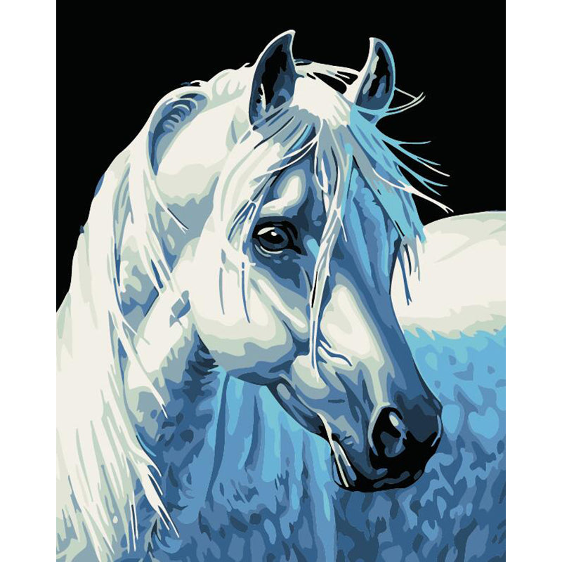 "DIY Painting By Numbers - White Horse  (16""x20"" / 40x50cm)"