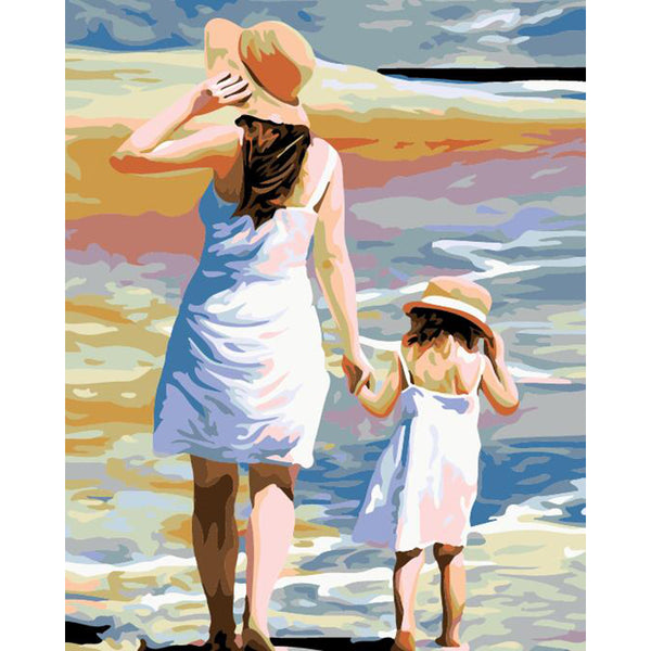 "DIY Painting By Numbers -  Mother And Daughter (16""x20"" / 40x50cm)"