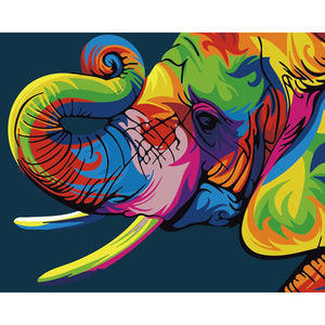 "DIY Painting By Numbers -Colorful Elephant (16""x20"" / 40x50cm)"