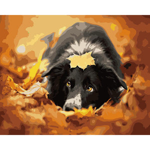 "DIY Painting By Numbers -Dog In Leaves (16""x20"" / 40x50cm)"
