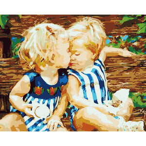 "DIY Painting By Numbers - Adorable Boy And Girl (16""x20"" / 40x50cm)"
