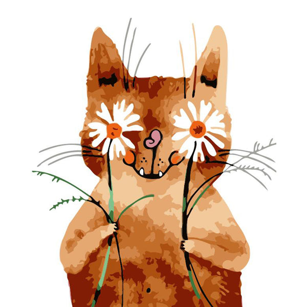 "DIY Painting By Numbers - Cat With Flower(16""x20"" / 40x50cm)"