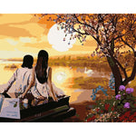 "DIY Painting By Numbers - Lovers Watching Sunset (16""x20"" / 40x50cm)"