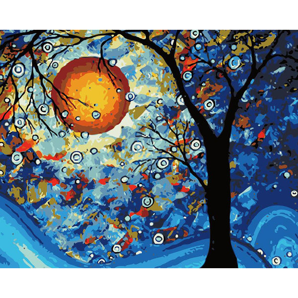 "DIY Painting By Numbers - Moon And Tree (16""x20"" / 40x50cm)"