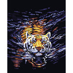 "DIY Painting By Numbers - Tiger In Water(16""x20"" / 40x50cm)"
