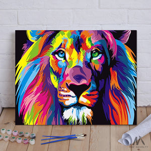 Diy Painting By Numbers Colorful Lion 16 X20 40x50cm