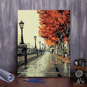 "DIY Painting By Numbers - Autumn Street (16""x20"" / 40x50cm)"