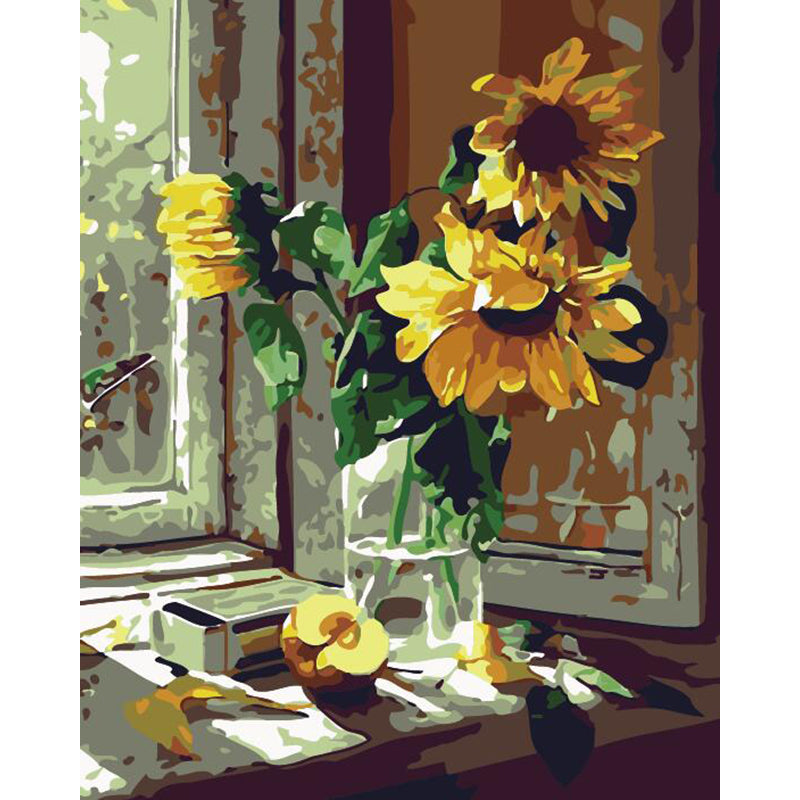 "DIY Painting By Numbers -Sunflowers In A Bottle (16""x20"" / 40x50cm)"