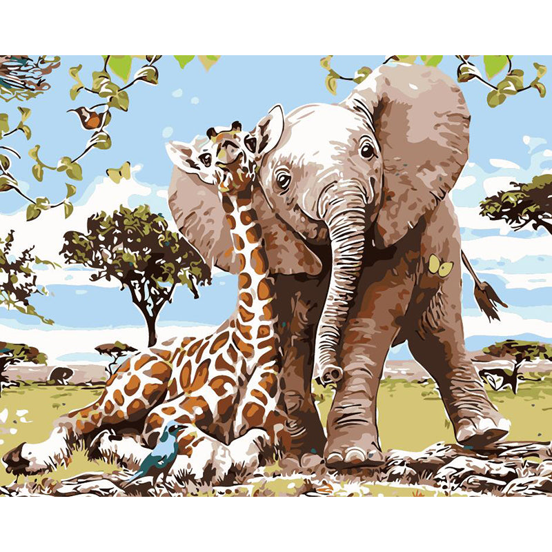 "DIY Painting By Numbers -  Giraffe and elephant(16""x20"" / 40x50cm)"