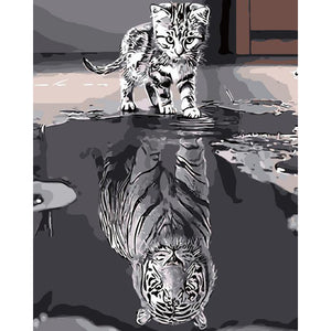 "DIY Painting By Numbers -  Cat&Tiger(16""x20"" / 40x50cm)"