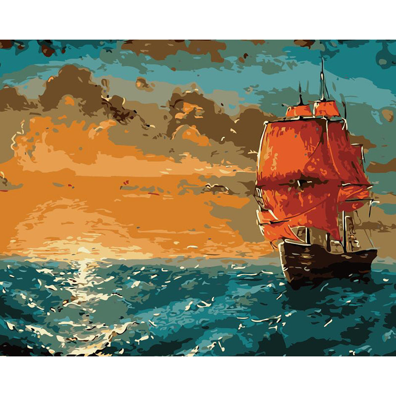 "DIY Painting By Numbers - Sunset And Sailing Boat(16""x20"" / 40x50cm)"