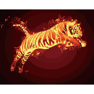 "DIY Painting By Numbers - Tiger On Fire (16""x20"" / 40x50cm)"