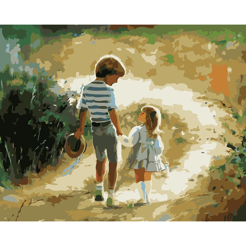 "DIY Painting By Numbers - Boy And Girl (16""x20"" / 40x50cm)"