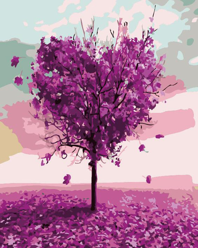"DIY Painting By Numbers - Purple Heart Tree (16""x20"" / 40x50cm)"