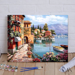 "DIY Painting By Numbers - Seascape Resort (16""x20"" / 40x50cm)"