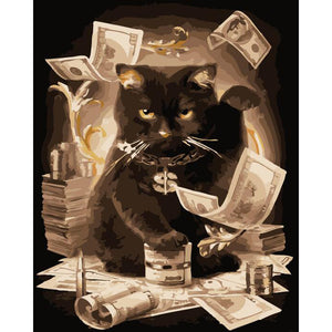 "DIY Painting By Numbers - Cat With Money  (16""x20"" / 40x50cm)"