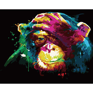 "DIY Painting By Numbers - Chimpanzee Thinking(16""x20"" / 40x50cm)"
