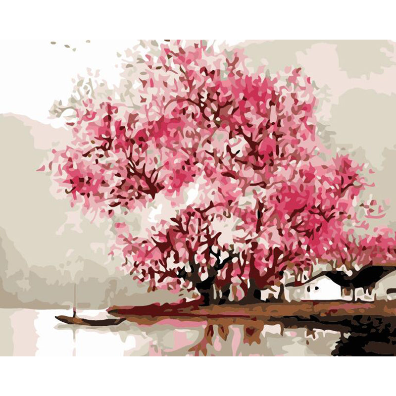 "DIY Painting By Numbers -  Pink Tree(16""x20"" / 40x50cm)"