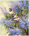 "DIY Painting By Numbers -  Birds With Purple Flower(16""x20"" / 40x50cm)"