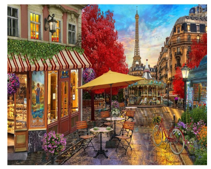 "DIY Painting By Numbers -Paris Street  (16""x20"" / 40x50cm)"