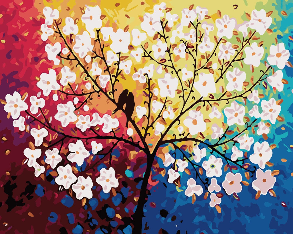 "DIY Painting By Numbers - Colorful Tree With Birds(16""x20"" / 40x50cm)"