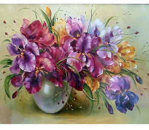 "DIY Painting By Numbers -Purple Flowers (16""x20"" / 40x50cm)"