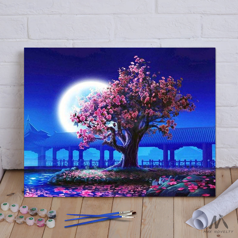 "DIY Painting By Numbers - Romantic Moon Night & Tree (16""x20"" / 40x50cm)"