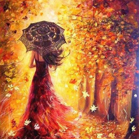 Diy Painting By Numbers Beautiful Women Autumn Landscape 16 Quot X20 Quot Max Novelty