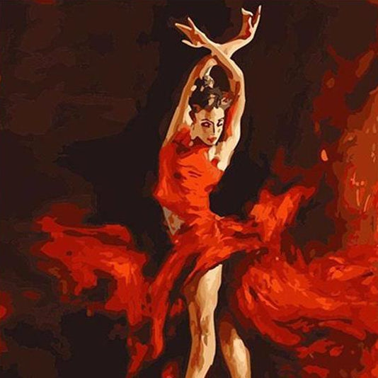 "DIY Painting By Numbers - Ballet Dancer On Fire (16""x20"" / 40x50cm)"