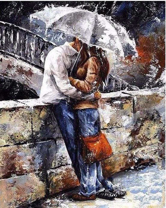 "DIY Painting By Numbers - Romantic lover (16""x20"" / 40x50cm)"