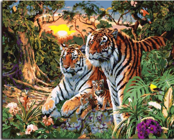 "DIY Painting By Numbers - Tiger Family (16""x20"" / 40x50cm)"