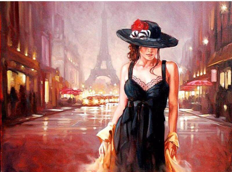 "DIY Painting By Numbers - Woman on Paris Street (16""x20"" / 40x50cm)"
