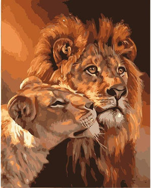 "DIY Painting By Numbers - Lion Couple (16""x20"" / 40x50cm)"
