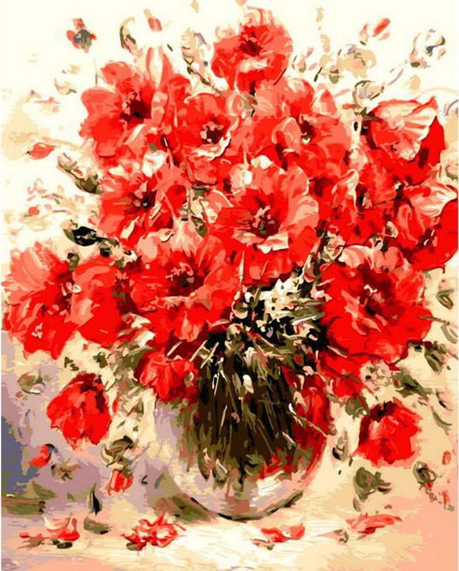 "DIY Painting By Numbers - Red Flowers (16""x20"" / 40x50cm)"