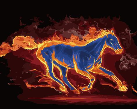 "DIY Painting By Numbers -  Bluefire Stallion (16""x20"" / 40x50cm)"