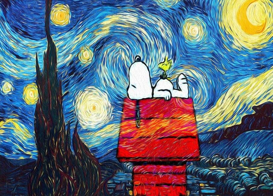 "DIY Painting By Numbers -  Snoopy Under Starry Night (16""x20"" / 40x50cm)"
